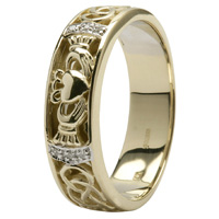 [Celtic Wedding Band, Diamond Set with Celtic Knotwork]